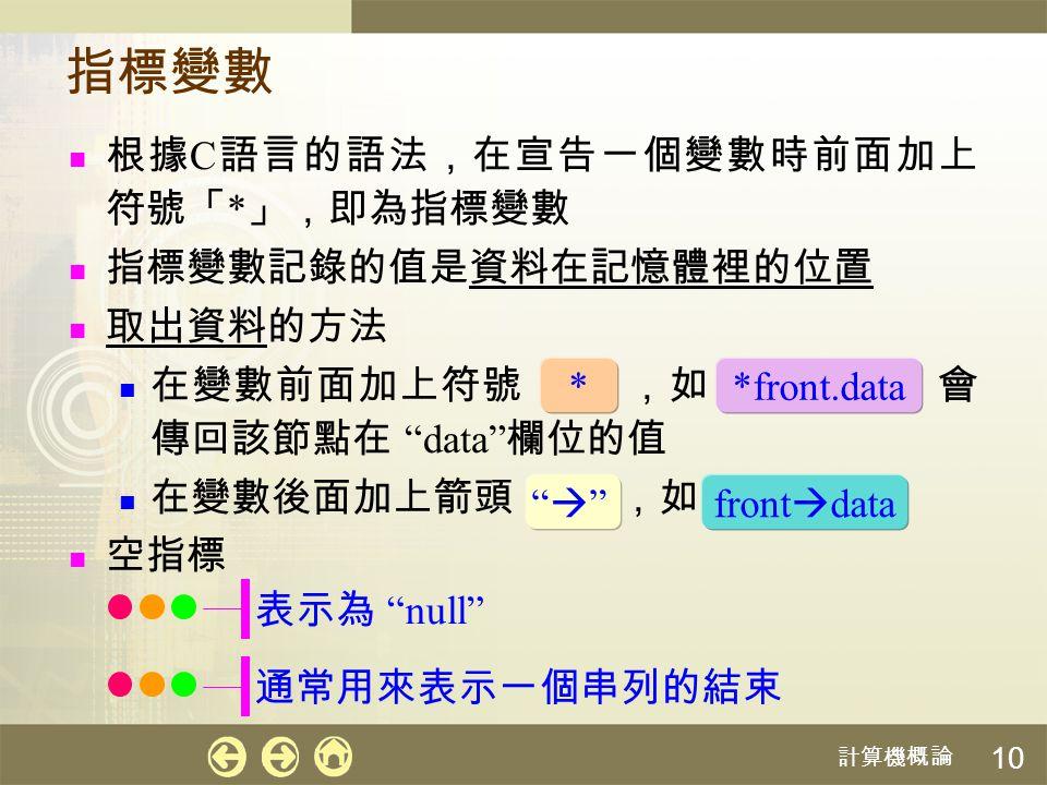 指標變數 根據C語言的語法,在宣告一個變數時前面加上符號「*」,即為指標變數 指標變數記錄的值是資料在記憶體裡的位置 取出資料的方法