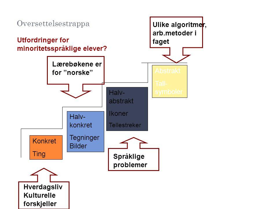 Oversettelsestrappa Ulike algoritmer, arb.metoder i faget
