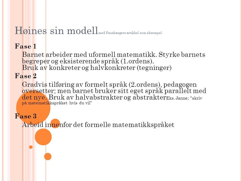 Høines sin modellmed Fauskangers artikkel som eksempel