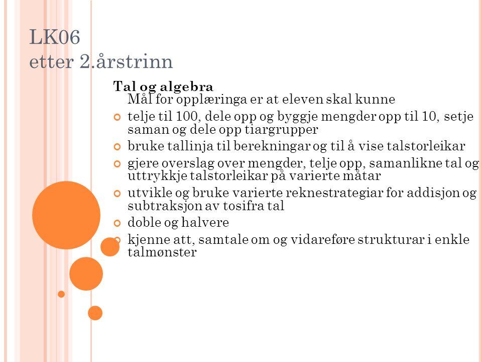 LK06 etter 2.årstrinn Tal og algebra Mål for opplæringa er at eleven skal kunne.