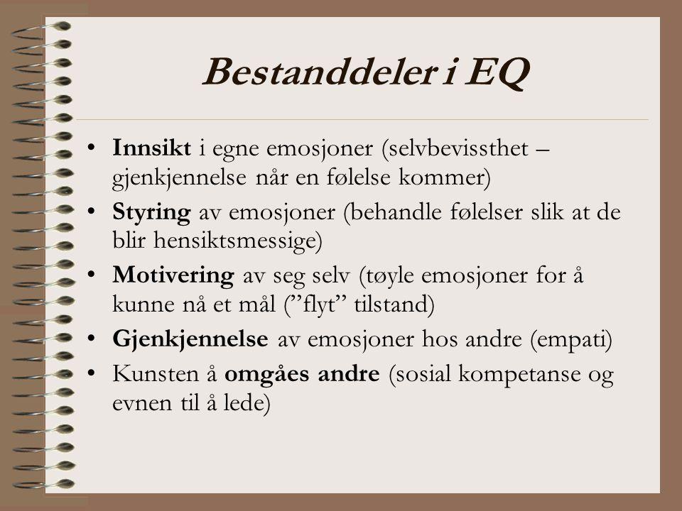 Bestanddeler i EQ Innsikt i egne emosjoner (selvbevissthet – gjenkjennelse når en følelse kommer)