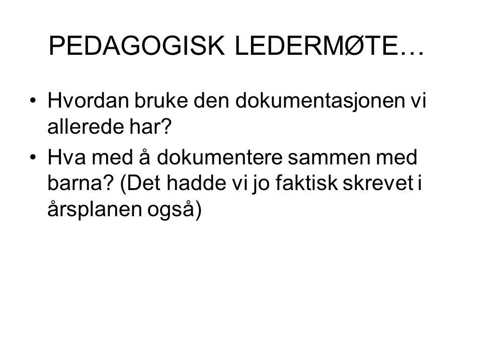 PEDAGOGISK LEDERMØTE…