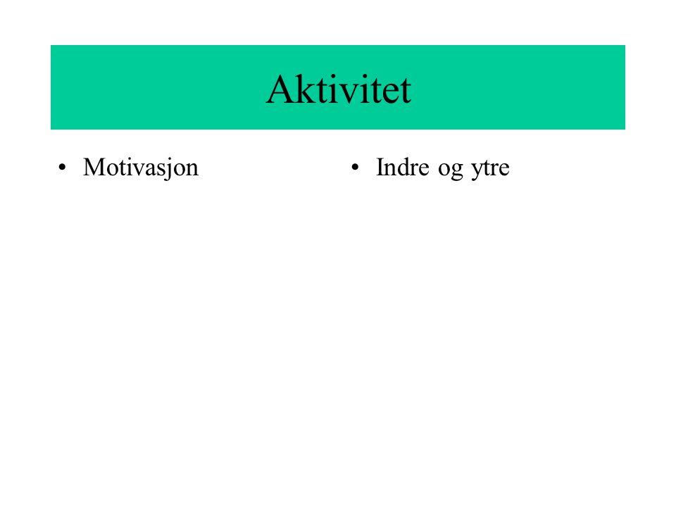 Aktivitet Motivasjon Indre og ytre
