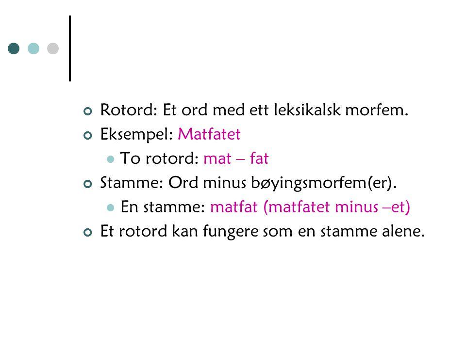 Rotord: Et ord med ett leksikalsk morfem.