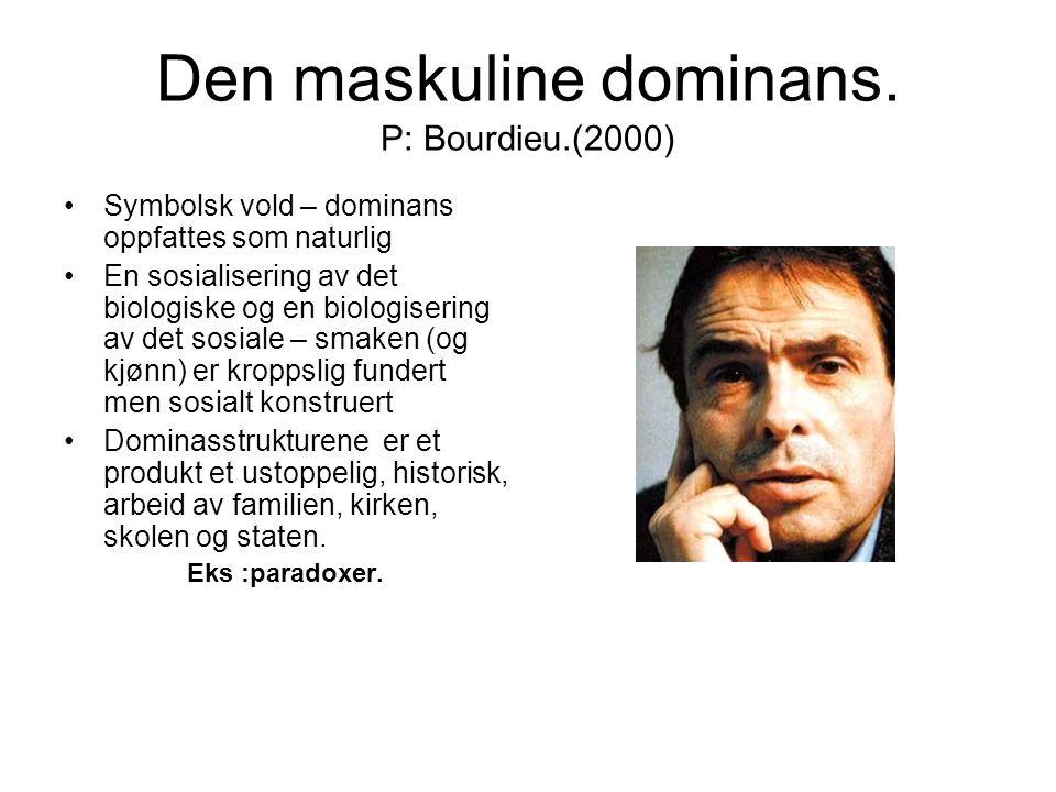 Den maskuline dominans. P: Bourdieu.(2000)