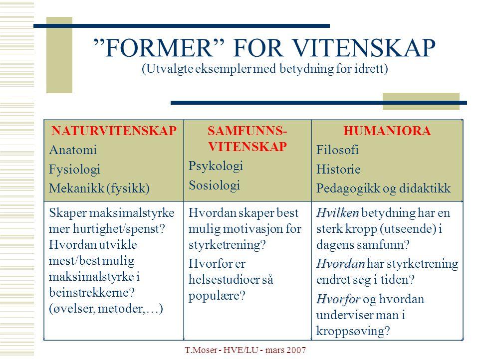 FORMER FOR VITENSKAP (Utvalgte eksempler med betydning for idrett)