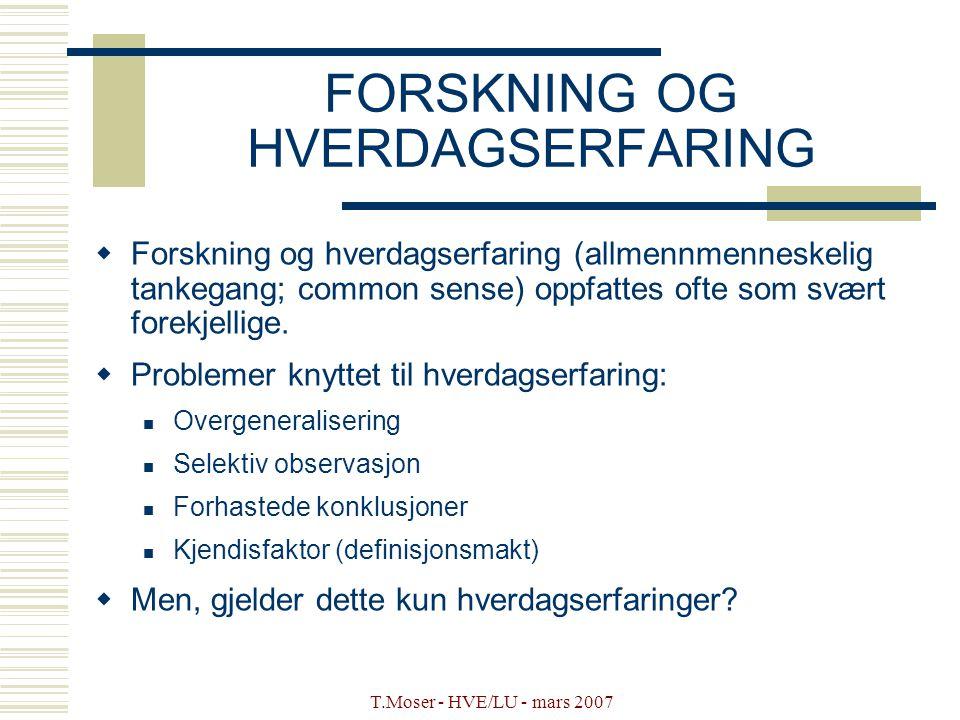 FORSKNING OG HVERDAGSERFARING