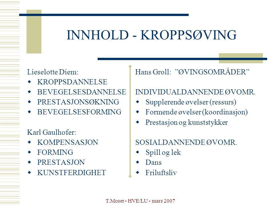 INNHOLD - KROPPSØVING Lieselotte Diem: KROPPSDANNELSE