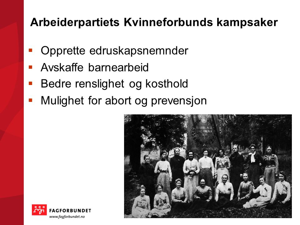 Arbeiderpartiets Kvinneforbunds kampsaker