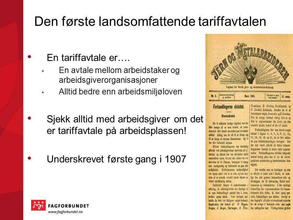 Den første landsomfattende tariffavtalen