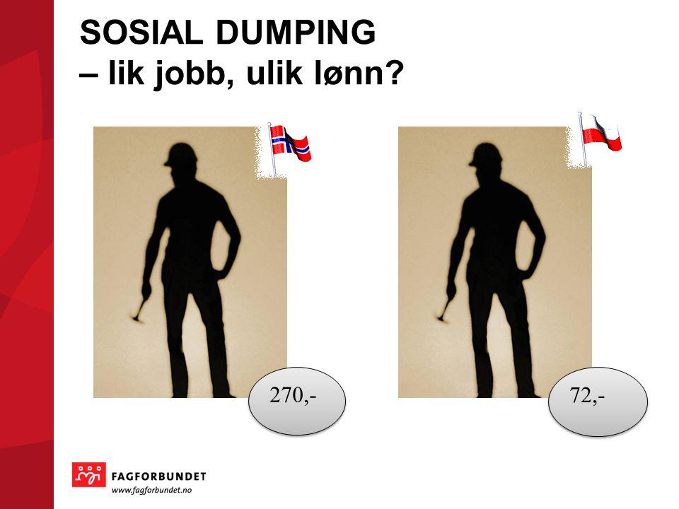 SOSIAL DUMPING – lik jobb, ulik lønn