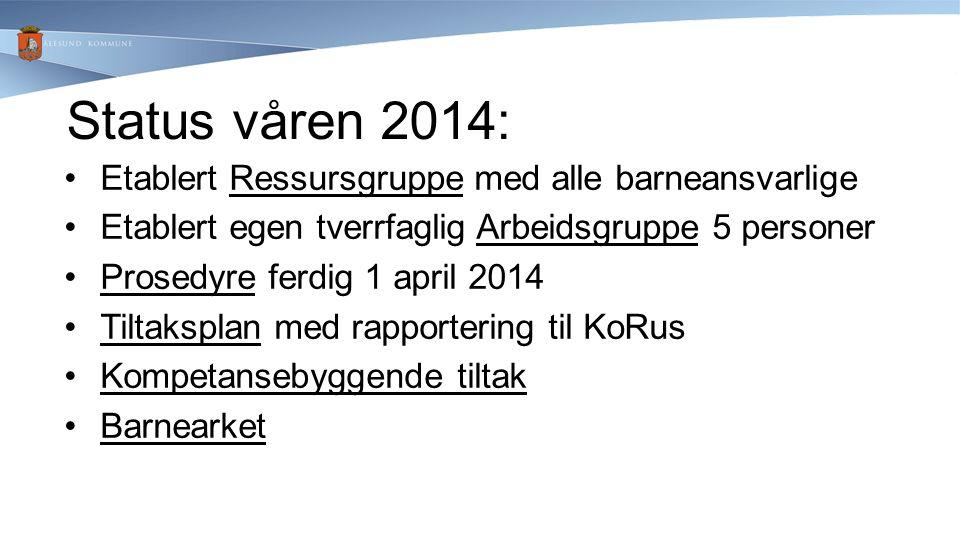 Status våren 2014: Etablert Ressursgruppe med alle barneansvarlige