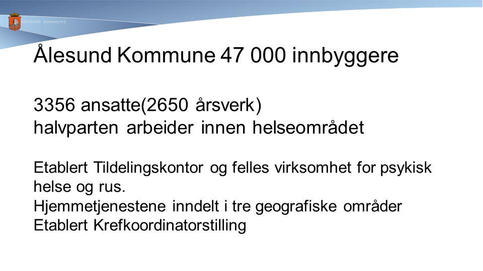 Ålesund Kommune 47 000 innbyggere 3356 ansatte(2650 årsverk) halvparten arbeider innen helseområdet Etablert Tildelingskontor og felles virksomhet for psykisk helse og rus.