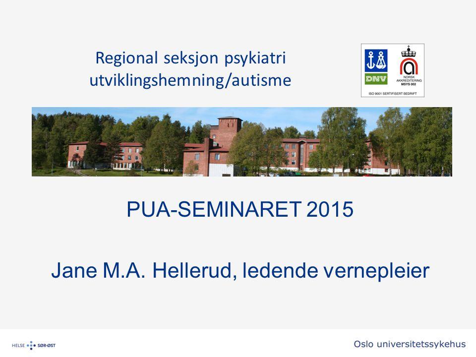 PUA-SEMINARET 2015 Jane M.A. Hellerud, ledende vernepleier