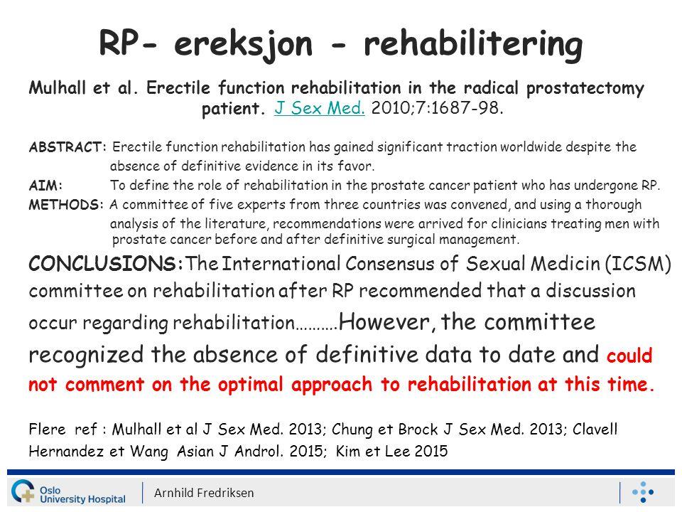 RP- ereksjon - rehabilitering