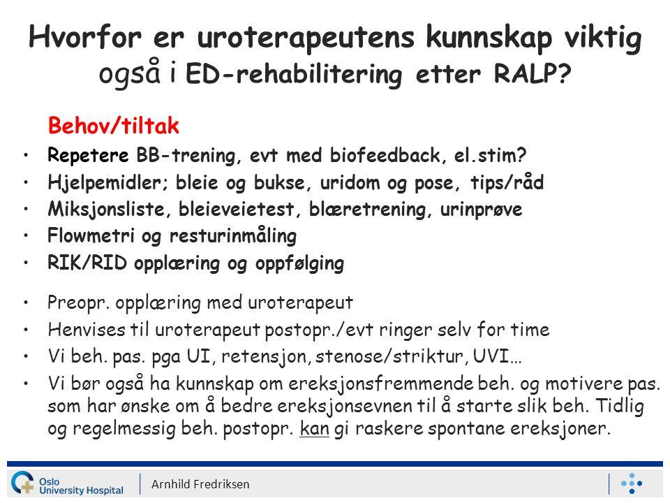 Hvorfor er uroterapeutens kunnskap viktig også i ED-rehabilitering etter RALP