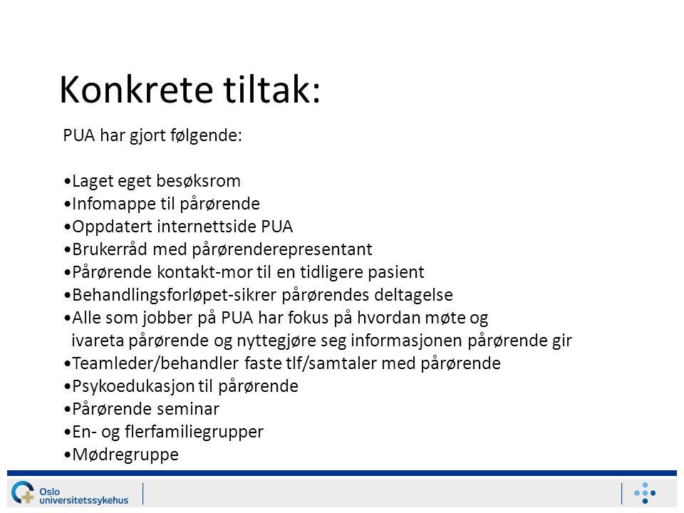 Konkrete tiltak: PUA har gjort følgende: Laget eget besøksrom