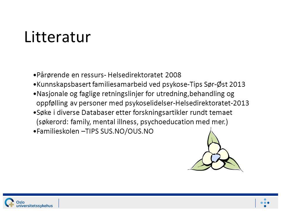 Litteratur Pårørende en ressurs- Helsedirektoratet 2008