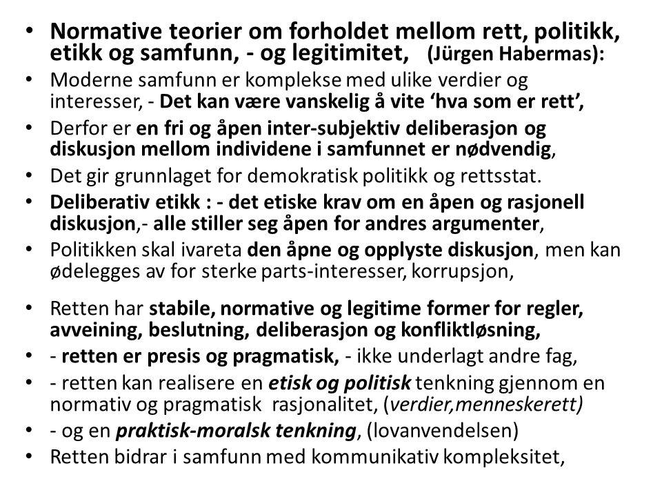 Normative teorier om forholdet mellom rett, politikk, etikk og samfunn, - og legitimitet, (Jürgen Habermas):