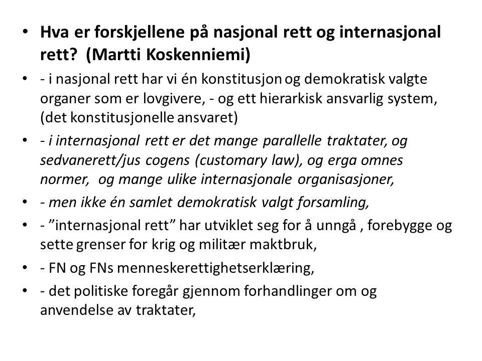 Hva er forskjellene på nasjonal rett og internasjonal rett
