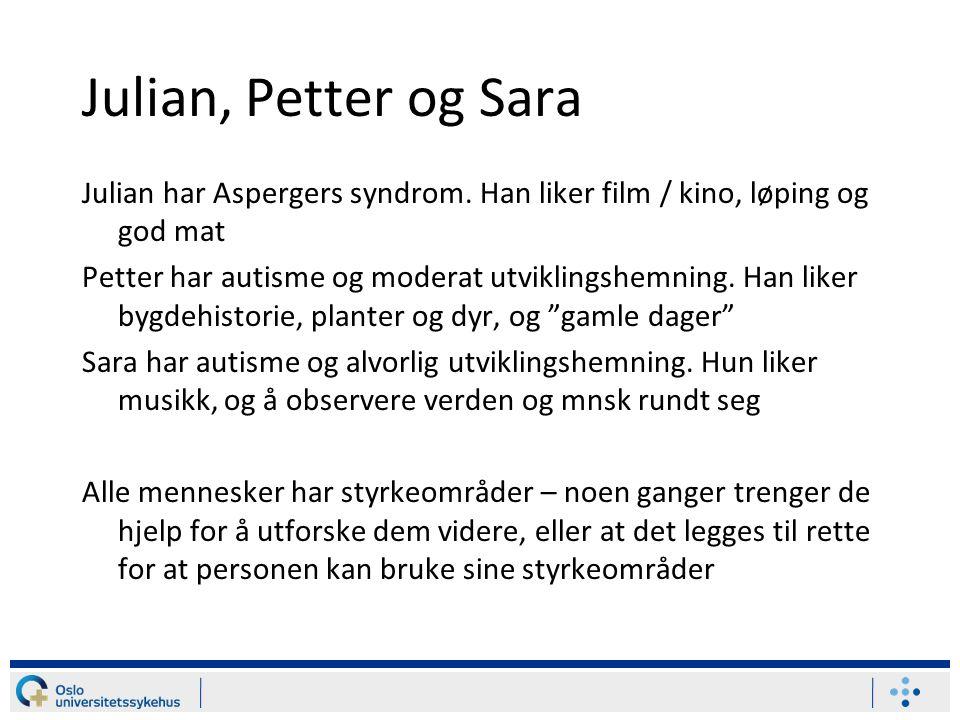 Julian, Petter og Sara Julian har Aspergers syndrom. Han liker film / kino, løping og god mat.