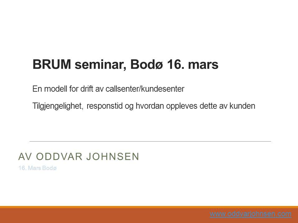 BRUM seminar, Bodø 16. mars En modell for drift av callsenter/kundesenter Tilgjengelighet, responstid og hvordan oppleves dette av kunden
