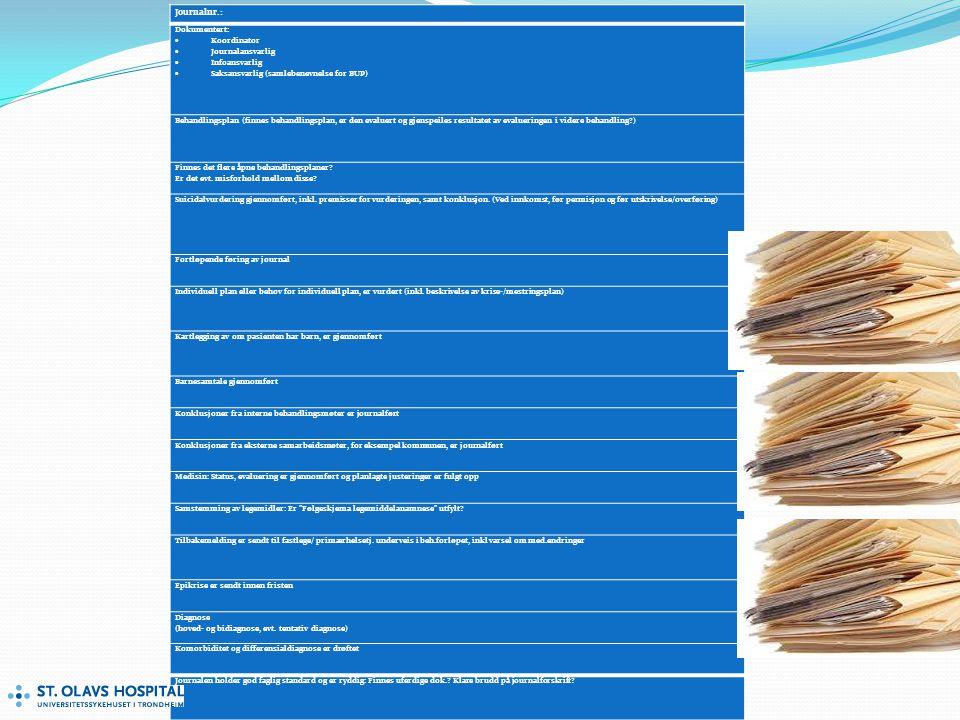 Journalnr.: Dokumentert: Koordinator Journalansvarlig Infoansvarlig
