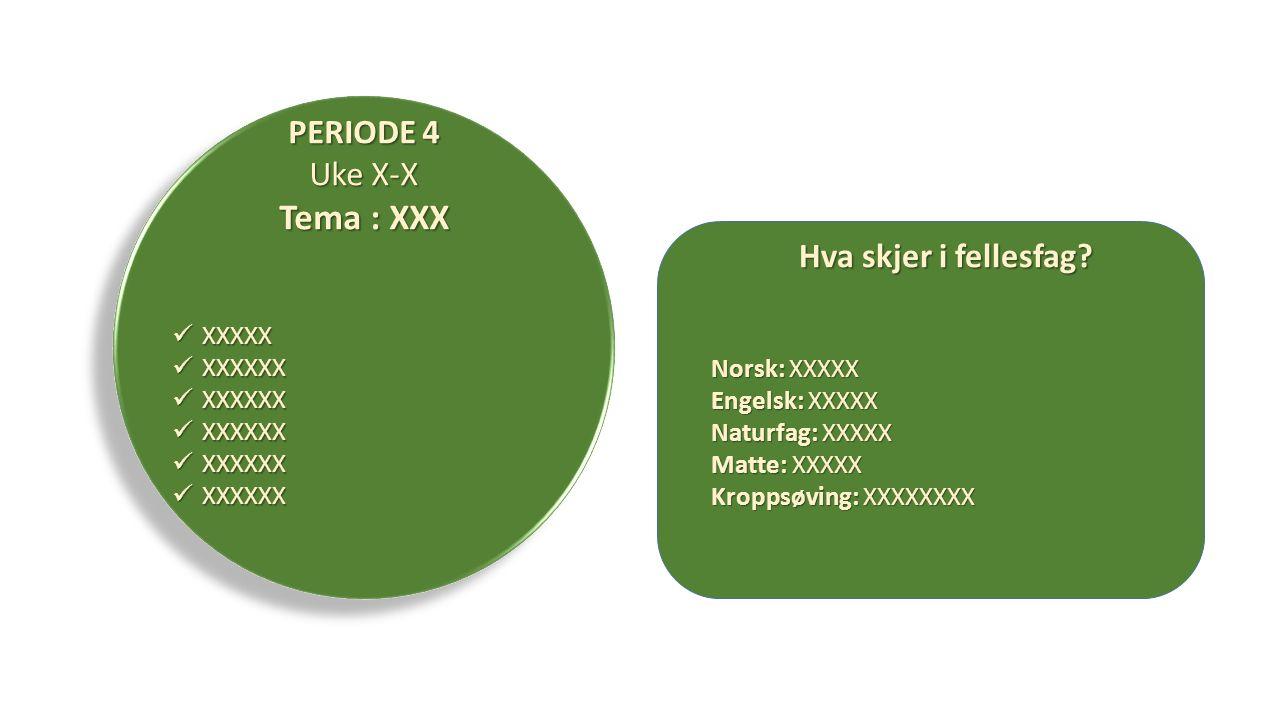 Tema : XXX PERIODE 4 Uke X-X Hva skjer i fellesfag XXXXX XXXXXX