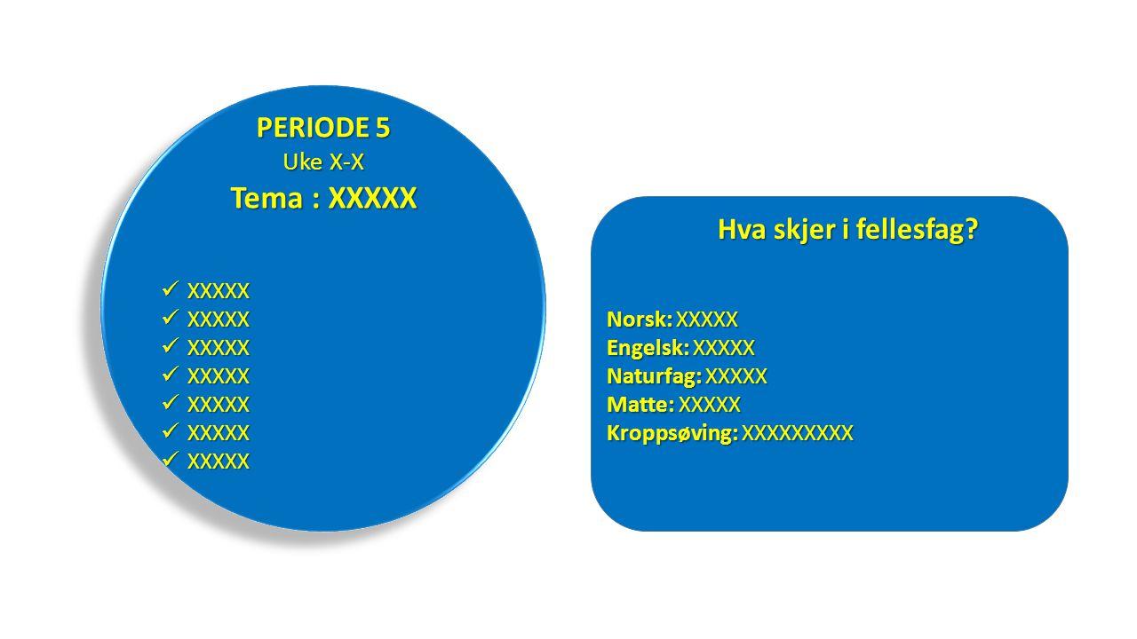 Tema : XXXXX PERIODE 5 Hva skjer i fellesfag Uke X-X XXXXX