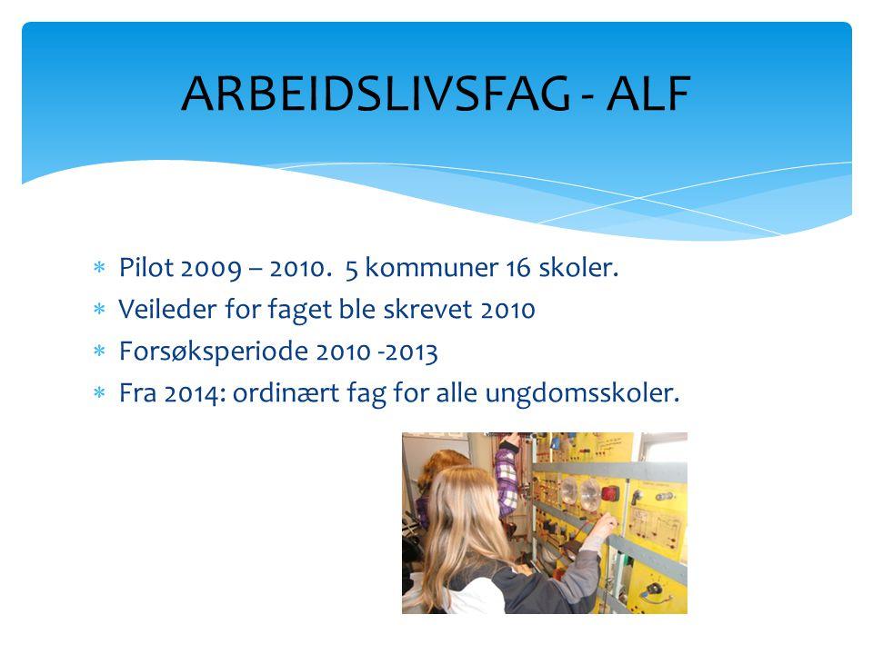 ARBEIDSLIVSFAG - ALF Pilot 2009 – 2010. 5 kommuner 16 skoler.