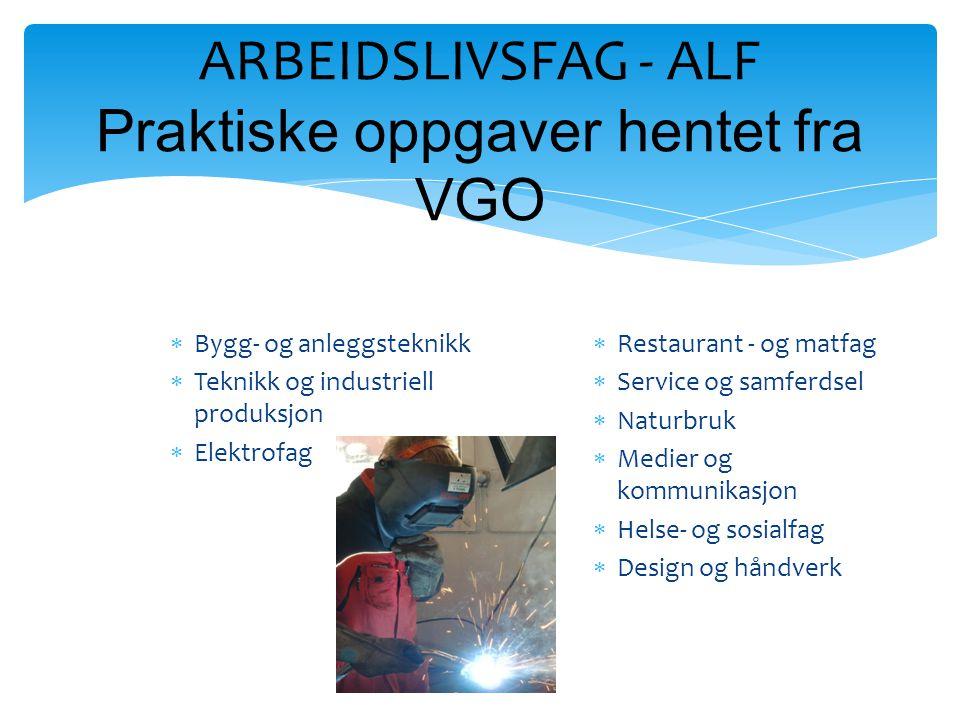 ARBEIDSLIVSFAG - ALF Praktiske oppgaver hentet fra VGO