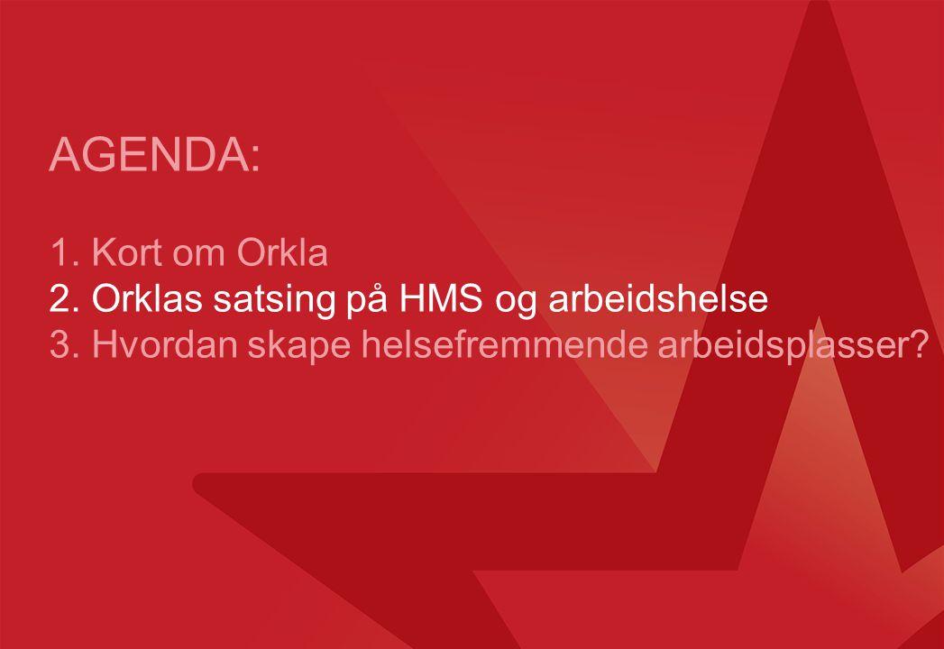 AGENDA: 1. Kort om Orkla 2. Orklas satsing på HMS og arbeidshelse 3