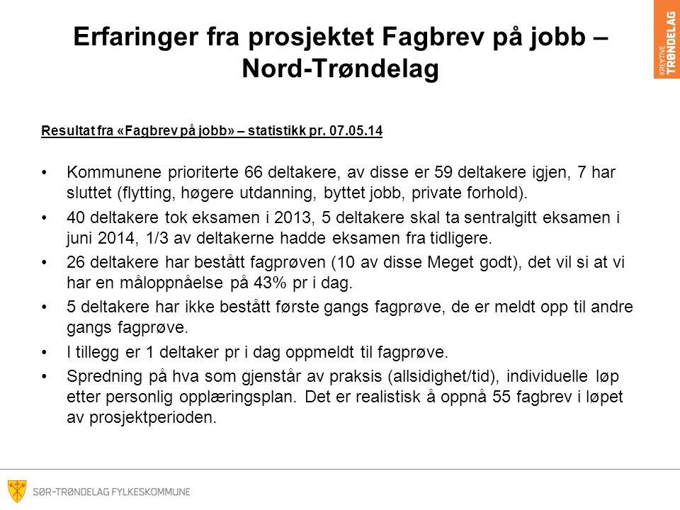 Erfaringer fra prosjektet Fagbrev på jobb – Nord-Trøndelag