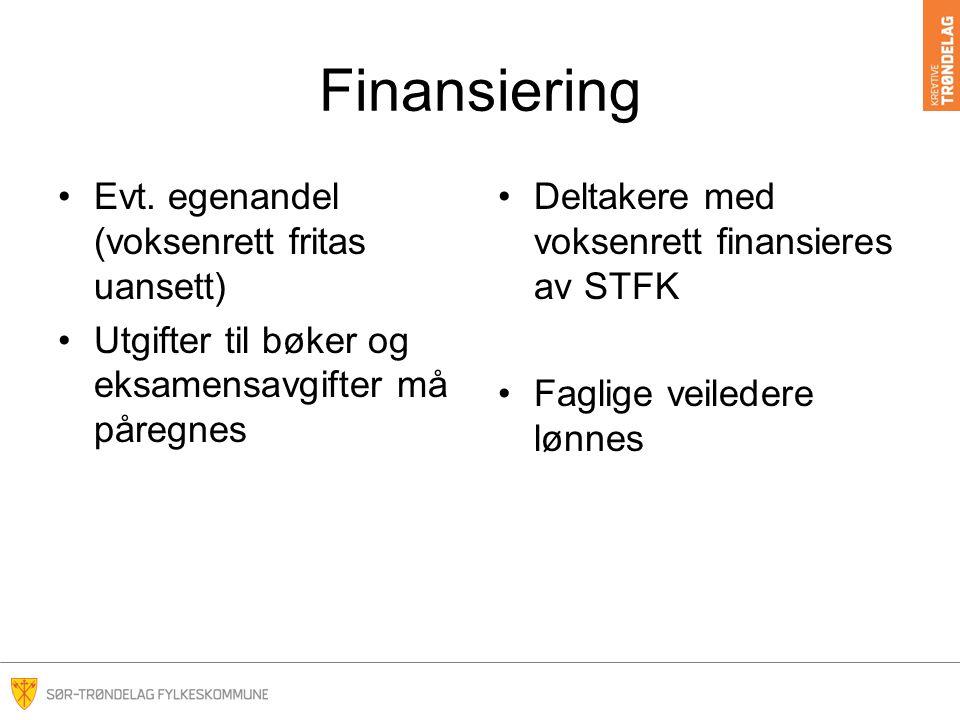 Finansiering Evt. egenandel (voksenrett fritas uansett)