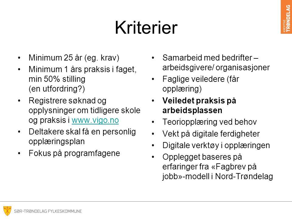 Kriterier Minimum 25 år (eg. krav)