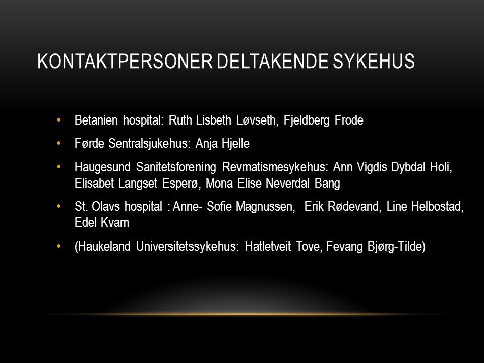 Kontaktpersoner deltakende sykehus