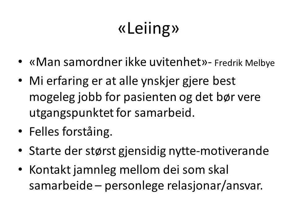 «Leiing» «Man samordner ikke uvitenhet»- Fredrik Melbye