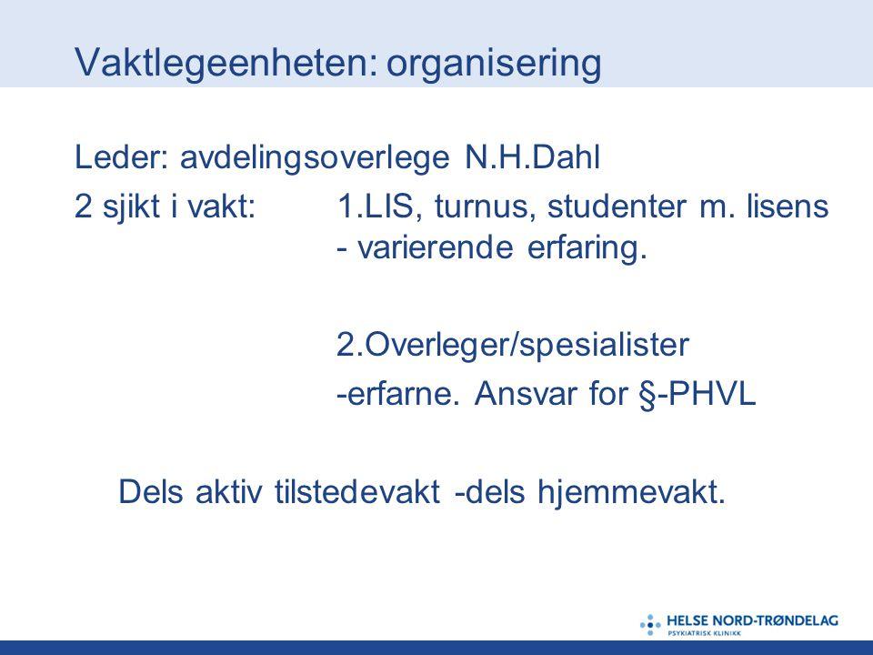 Vaktlegeenheten: organisering