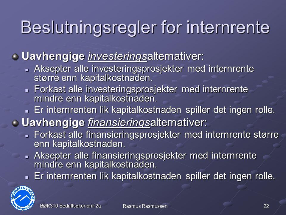 Beslutningsregler for internrente