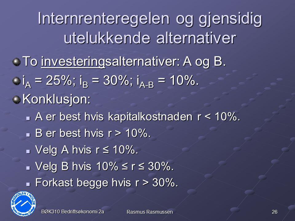 Internrenteregelen og gjensidig utelukkende alternativer