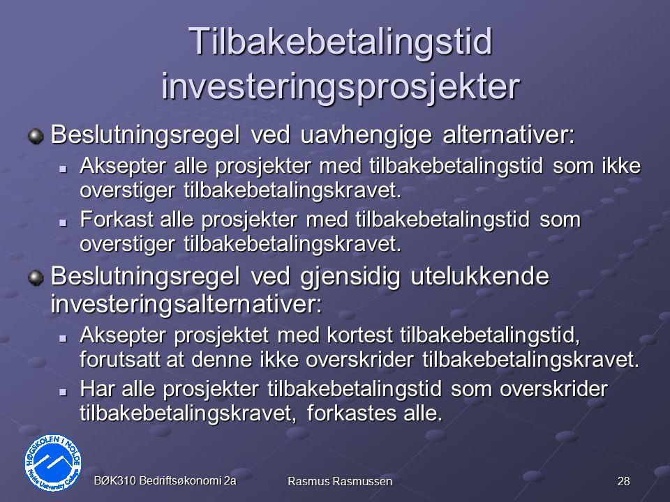 Tilbakebetalingstid investeringsprosjekter