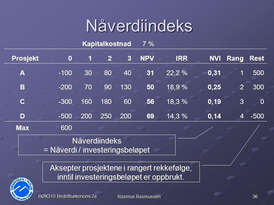 Nåverdiindeks = Nåverdi / investeringsbeløpet