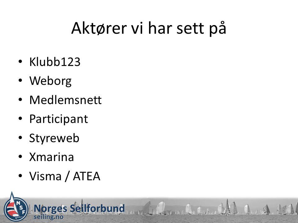 Aktører vi har sett på Klubb123 Weborg Medlemsnett Participant