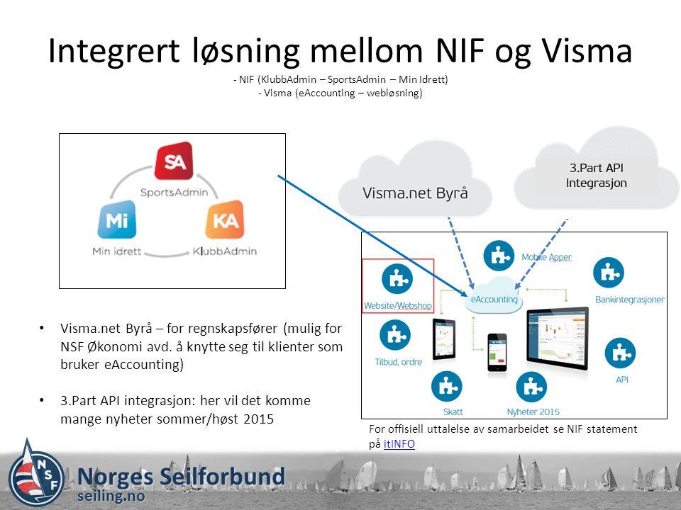 Integrert løsning mellom NIF og Visma - NIF (KlubbAdmin – SportsAdmin – Min Idrett) - Visma (eAccounting – webløsning)