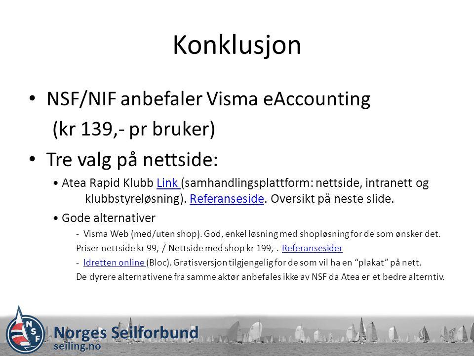 Konklusjon NSF/NIF anbefaler Visma eAccounting (kr 139,- pr bruker)