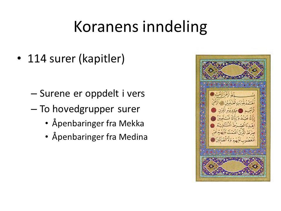 Koranens inndeling 114 surer (kapitler) Surene er oppdelt i vers