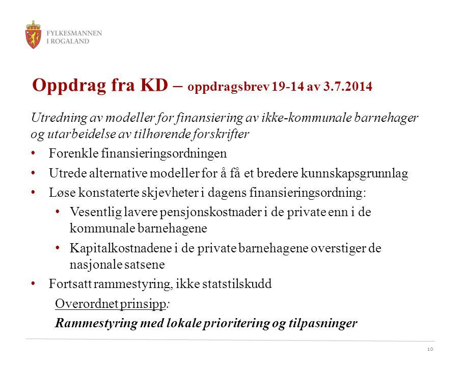 Oppdrag fra KD – oppdragsbrev 19-14 av 3.7.2014