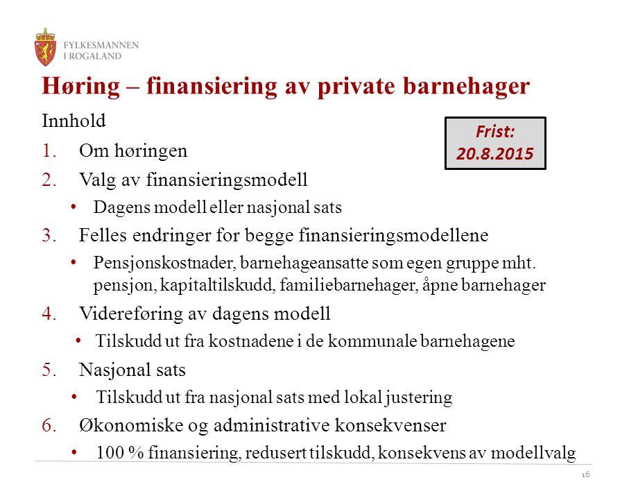 Høring – finansiering av private barnehager