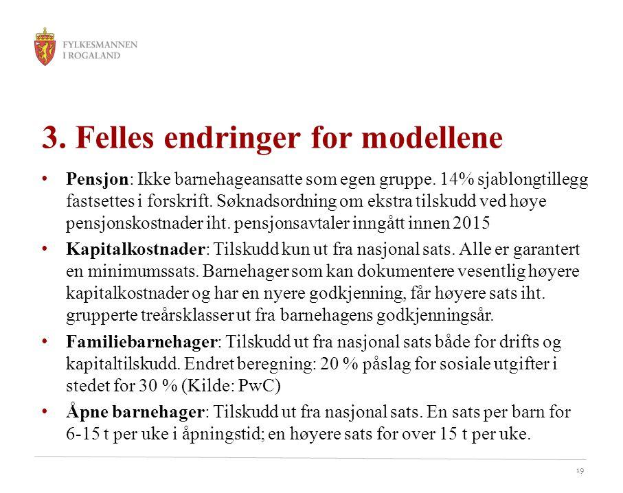 3. Felles endringer for modellene