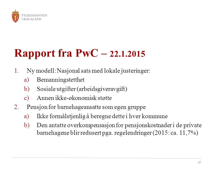 Rapport fra PwC – 22.1.2015 Ny modell: Nasjonal sats med lokale justeringer: Bemanningstetthet. Sosiale utgifter (arbeidsgiveravgift)